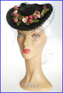 1940s Fruity Black Tilt Straw Hat with Square Dots Veil & Fruit & Florals
