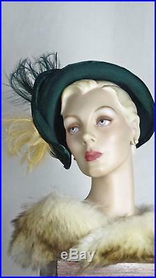 1940s Iconic Dark Green Felt Bonnet Hat Velvet n Feather Trim Sz 6 7/8 #1438