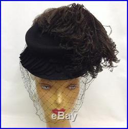 1940s OTT Dramatic Felt Hat with Double Diamond Net & Oversize Feather Plume