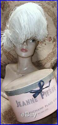 1940s Paris Label French White Ostrich Plume Hat, Jeanne Pierre, Velour Felt w Box