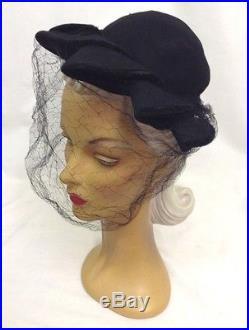 1940s Pointy Feature Black Felt Halo Hat with Velvet Trim & Amazing Net Veil