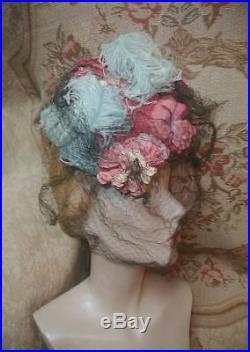 1940s ROBERT DUDLEY Tilt HAT w Pink Roses, Blue Ostrich Plumes, Silk Veil w BOX