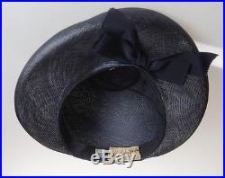 1940s Unique Style Navy Fine Woven Straw Hat with High Halo Brim & Bow