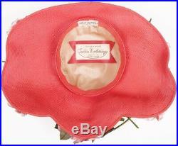 1940s Vintage Wide Brim Hat by Laddie Northridge Pink Straw