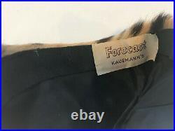 1950's VINTAGE LEOPARD Real Fur Pillbox Hat