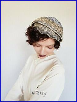 1950s Bes-Ben Beaded Hat Gray Wool Faux Pearl Rhinestones Dressy Evening Party