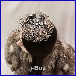 1950s Bes-Ben Cocktail Hat Beige Grey Bird's Nest Whimsical Designer OOAK