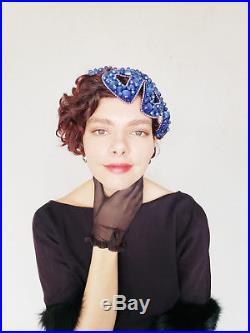1950s Bes-Ben Cocktail Hat Blue Moonstone Beads Beaded Juliette Cap