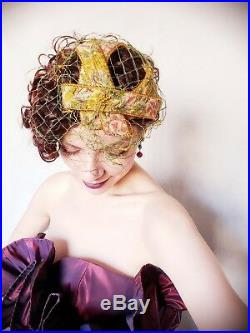 1950s Bes-Ben Cocktail Hat Gold Tapestry Weave Embroidered Fascinator Designer
