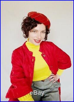 1950s Bes-Ben Cocktail Hat Red Velvet Beanie Hat Scalloped Panels RARE