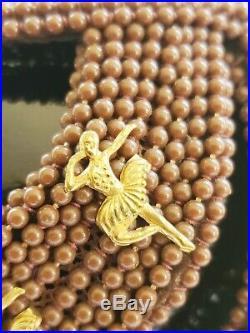 1950s Bes-Ben Hat Headpiece Brown Beaded Gold Dancers Ballerinas Avant Garde