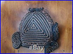 1950s Bes-Ben Heart Shaped Cocktail Hat Brown Black Beads Beaded RARE