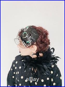 1950s Bes-Ben Novelty Hat Butterfly Moth Black Tooled Leather Enamel OOAK