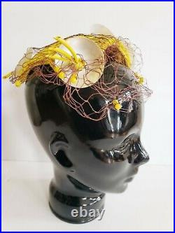 1950s Bes-Ben Yellow Beaded Cocktail Hat Modernist MCM Space Atomic Age Novelty