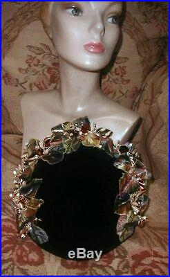 1950s Pearly Floral Garden SCHIAPARELLI PARIS Velour Platter Hat Loaded w Trims