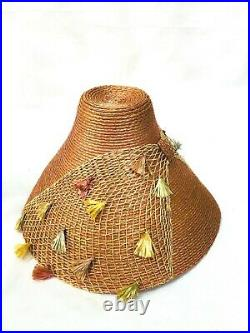 1950s Vintage unusual peach straw with tassels bucket hat Made in Italy Fab
