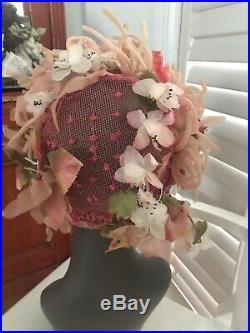 1960's CHRISTIAN DIOR Chapeaux WOMAN'S ladies hat Pink Floral FLOWER RIBBON