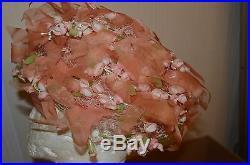 1960's CHRISTIAN DIOR Chapeaux WOMAN'S ladies hat pink flower floral ribbon