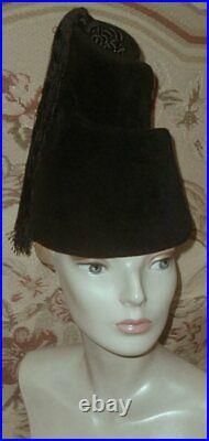 1960s Yves Saint Laurent TALL Spiral SCULPTURAL Felt TOWER Hat, Tassels, Beehive