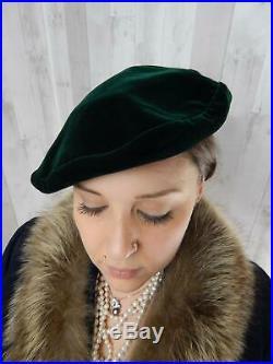 1970s Vintage HatYSL Yves Saint LaurentBeret Emerald Green Velvet Pillbox Rare