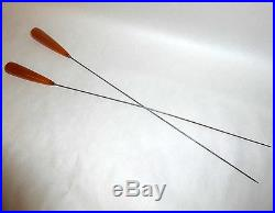 2 Antique Edwardian 13 Long Hat Pins with Translucent Amber Honey Color Heads
