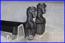 2 Old Shutter Dogs french girl woman hat iron Art Deco vintage 1800s set #2 R Y