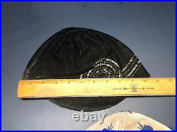 2 Vintage 1920's-30's NEW YORK Cloche Flapper Hats Black Ann Hat & Felt Flower