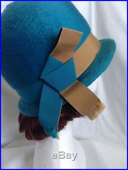 20s 30s Revival Vintage Flapper RAWAK Teal Wool Cloche Hat Women Ladies Goodwood