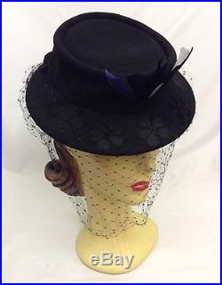 40s Dramatic Original Black Hat with Unique Face Veil and Coloured Feathers