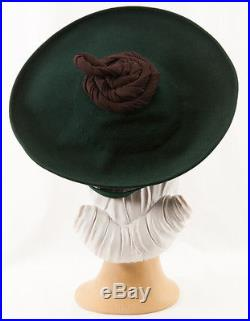 40s'Eunice Ray' Original Forest Green Felt Hat with Oversized Quirky Feature
