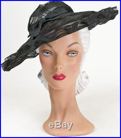 40s Original Large Wide Wavy Brimmed Fine Woven Black Hat with Opencrown