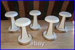 5 Vintage Wooden Hat Wig Stands Gold Ivory Display Holder Millinery Custom