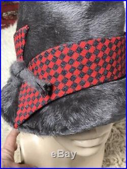50's Vintage Schiaparelli Angora Felt Jaunty Hat Fabulous