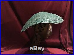 50s 60s 70s 80s Vintage Hat green Saucer Church Straw Raffia Italy