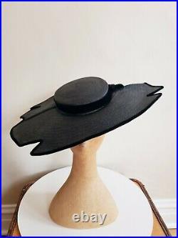 50s Designer Hat Black Straw Velvet Platter Saucer Tilt New Look Halina Kirn