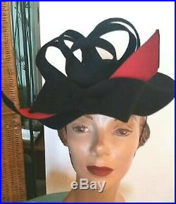 50s Schiaparelli Blk Hat All Felt! Cluster of Loops, Lge Red Bow! Very Chic
