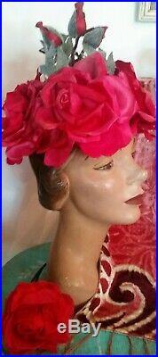 50s Schiaparelli Womens Fab Rose Blossom Hat Rare Unique Design Silk & Velvet