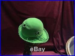 60s 70s 80s Mr John Classic Kelly Green Felt Wool Hat Vintage Wool Derby