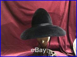 60s 70s Velvet Black Felt Vintage Hat Chin Strap Adolfo mr John Style Wide