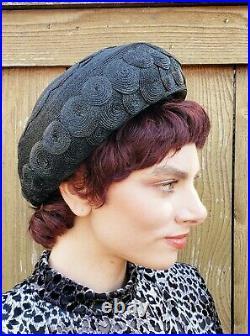 60s Elsa Schiaparelli Hat Black Straw Woven Discs Space Age Designer Millinery