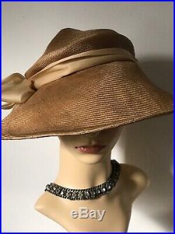 A Vintage 1970s Frederick Fox London Hat, Wide Brimmed Bronze Colour
