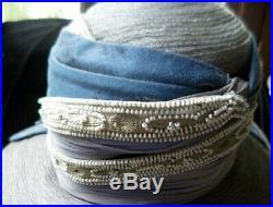 AMAZING Vintage 1920s-1930s CLOCHE HAT Silk Velvet Beadwork 22