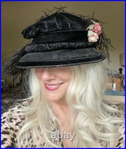 ANTIQUE 1910 Black Velvet & Feather Lady HAT Sibley Lindsay & Curr, Paris S/M