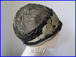 ANTIQUE 1920's FRENCH CLOCHE FLAPPER HAT ROSES NET METALLIC LANGLEYS HOLLYWOOD