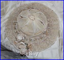 ANTIQUE ORIGINAL 1868 VICTORIAN ERA Ivory Lacey with Flowers Women Hat