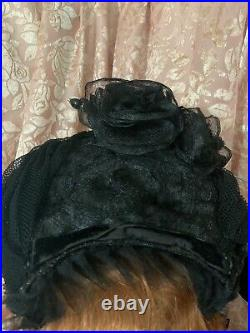 ANTIQUE VICTORIAN VTG 1860's BLACK Ladies Horsehair Mourning Hat