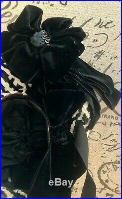 ANTIQUE VINTAGE VICTORIAN CHENILLE BONNET HAT With VELVET BOWS SEQUINS