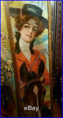 ANTIQUE Victorian Edwardian Ladies WIDE BRIM STRAW BOATER HAT OSTRICH FEATHERS
