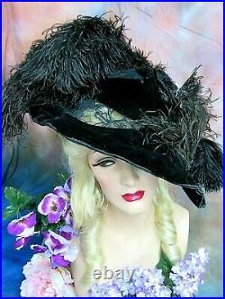 ANTIQUE Victorian HAT velvet FEATHERS Plumes LACE original c1895 PARIS Label