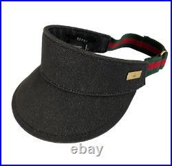 AUTHENTIC VTG Gucci Shelly Line Black Denim Visor Unisex S